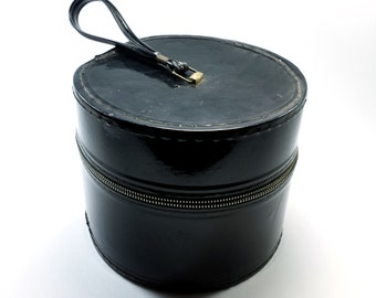 "Vintage Round Hat Wig Case | Black Patent Vinyl with Zipper and Handle Strap | 8"" Round 