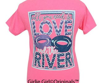Girlie Girl Originals Love-River Safety Pink Short Sleeve T-Shirt