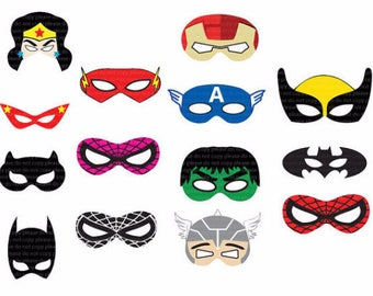 INSTANT DL- SUPERHERO Masks Cut-Out Birthday Party -Printable - Jpeg files