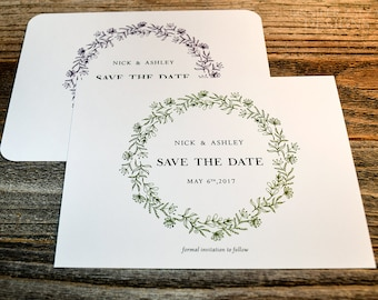 Rustic Save the Date Announcement Cards. Personalized Wedding Save the Date Cards. Printed Save the Dates. Rustic Wreath Cards.