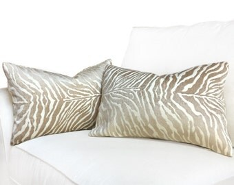 Fabricut Plush Animal Tiger Stripe Cream Sand Chenille Texture Pillow Cover, Fits 14x20 Inserts