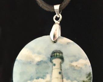 Hand painted Biloxi lighthouse necklace