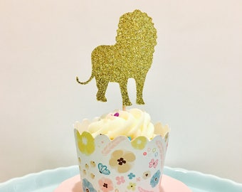 12ct Lion cupcake topper, Zoo cupcake toppers, Animal cupcake topper, Safari cupcake toppers