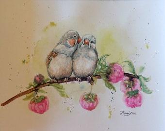 "Original Watercolor painting, Spring Birds, 1703053, 8""x10"""