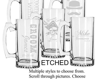 ETCHED, Set of 5 Personalized Groomsmen Beer Mugs, Custom Groomsmen Beer Mugs, Unique Groomsmen Mugs, Beer Mug Glasses