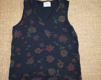 Vintage 1990's - Fresh Produce - Size Small - Black Floral Crop Top