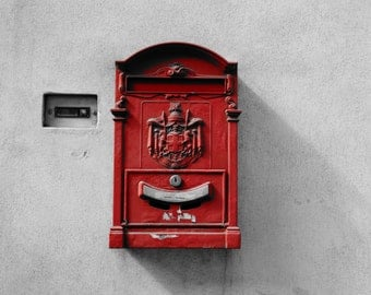 Red Italian postbox print - photography print - Black and white photography print