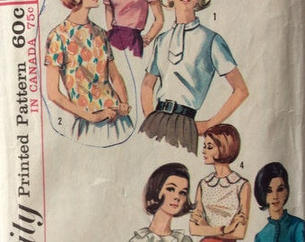 Simplicity 5885 vintage 1960's misses blouse sewing pattern size 10 bust 31