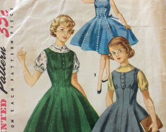 Simplicity 1291 girls dress, jumper & blouse size 7 vintage 1950's sewing pattern