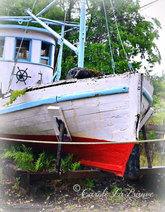 FISHING BOAT at REST ~ Louisiana Fine Art ~ Color or Black and White Wall Art~ Nautical Theme~ 8 x 10 Vertical Format~ Louisiana at Large