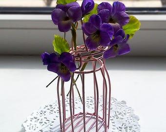 Wild Violets hair pins set. Clay flowers . Floral hair accessories. Floral hair pins