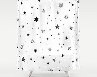 Stars shower curtain etsy for Star curtain fabric