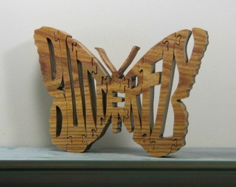 Butterfly word art Butterfly puzzle freestanding for shelf or desk display scroll sawn solid canarywood