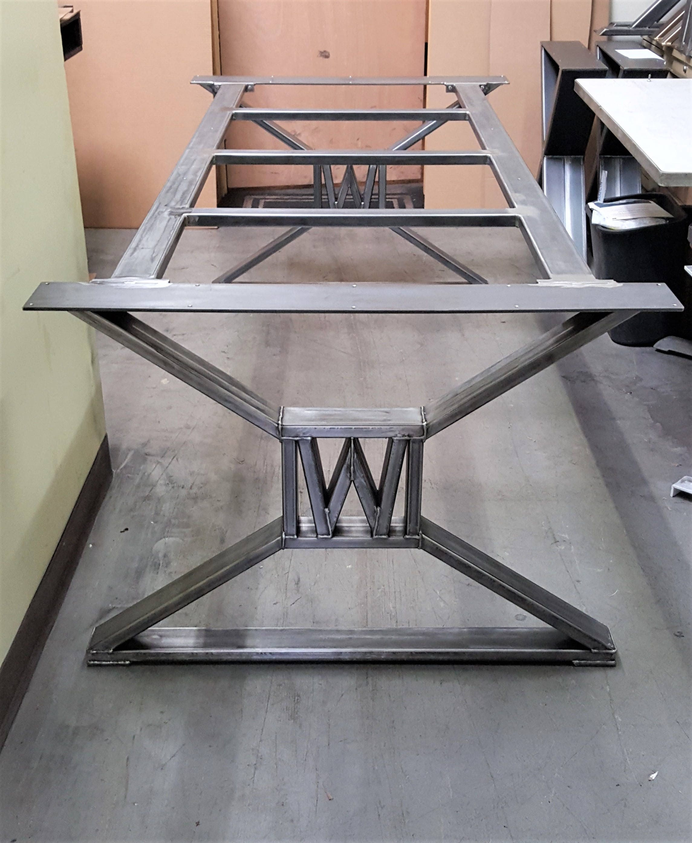 Modern, Industrial Dining Table Legs  with builded W , Model TTS09BW, with Frame Brace