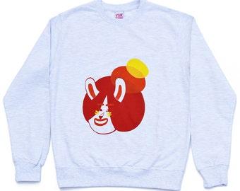 Grey Bun Bunny sweatshirt, Rabbit jumper, illustrated unisex sweatshirt, cool sweater, fun sweatshirt, screen printed jumper, grey jumper