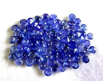 10pcs lot 5mm 100% Natural BLUE Tanzanite Round Cabochon gemstone...