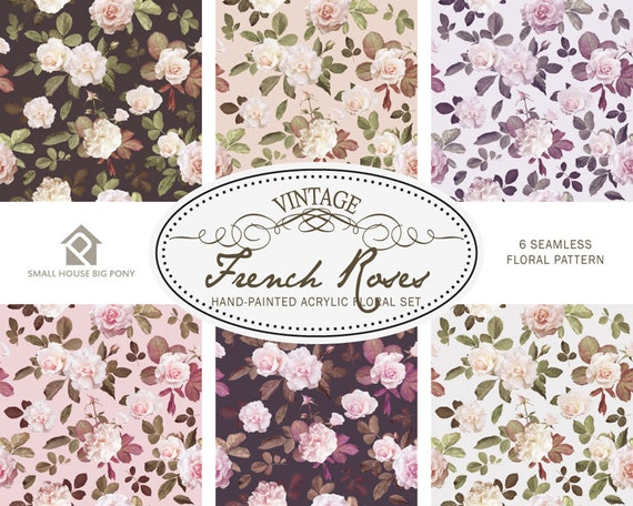 Watercolour Flower Clip Art Collection - Hand Painted Graphics- Vintage French Roses Seamless Floral Pattern