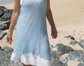 Sky blue knit beach dress, sky blue knit beach cover up, sheer knit beach cover up, 26 colours.