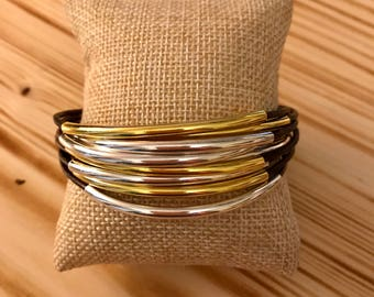 Gold and Silver Tube Bead Leather Bracelet, Gold Bracelet, Silver Bracelet, Leather Bracelet
