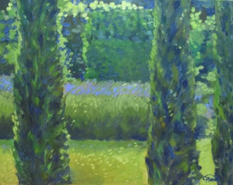 HOLD Oil painting of cypress trees and lavender, zen, peaceful, garden, green and lavender, yellow, 16x20 canvas