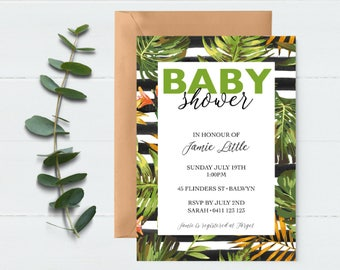 Baby Shower Invite - Tropical Invitation - Summer Party Invite - Birthday Invitation - Printable Invitation - Party Invitation - Custom