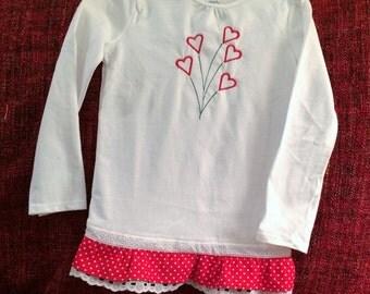 Girls Heart Embroidered Tee Shirt with Ruffled Hem