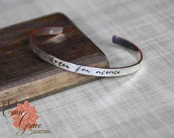 Sterling Silver Cuff Bracelet, Hand Stamped Message Bangle, Hammered, Personalized