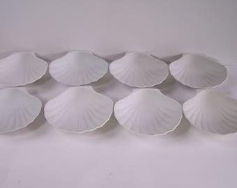 8 porcelain bisque scallops vintage