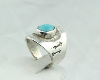 Unique Navajo Hand Made Turquoise and Sterling Silver Saddle Ring With Hand Stamped Arrow Designs #SADDLE-MR