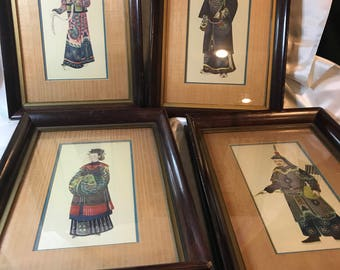 Set of Four, Ancestor, Chinese Painting Gouaches on Pith Rice Paper of High Rank Court Members in Qing Dynasty