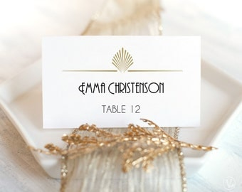 Printable Wedding Place Cards and Escort Cards (Foldover Tent and Flat) - DOWNLOAD Instantly - Editable - Art Deco Shell, 3.5x2, PDF