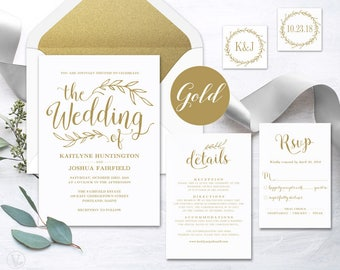 Vintage Gold Wedding Invitation, Printable Wedding Invitations, DIY Gold Wedding Invitation, 5-Piece Suite, Editable Text, VW01GOLD