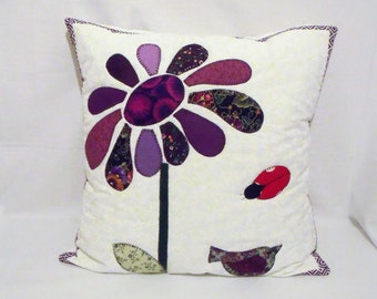 """applique scatter cushion, flower quilted pillow slip, floral patchwork cushion cover, purple home throw accent pillow, 17 x 17"""""""