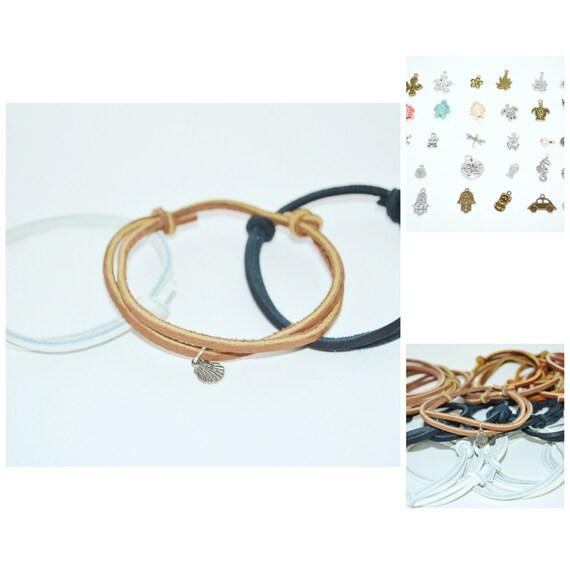 Bracelets Leather with Charms, Leather Bracelet  Choice of Charm, Beachy Bracelet, Unisex Leather Bracelets