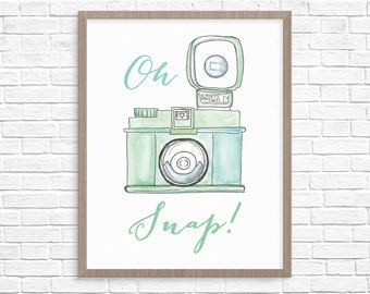 Oh Snap Camera Printable Wall Art // Gift for Photographer // Office Decor Wall Art
