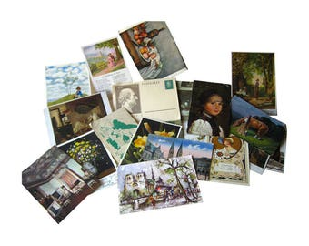 Art Post Card Lot - Art Post Cards - Vintage Postcards - Vintage Ephemera - Scrapbooking Postcards - Old Postcards - Collectible Postcard