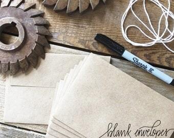 Pack of 10, Blank Envelopes, Kraft, Grocery Bag, Self Stick, LUX