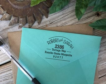 Custom Rubber Stamp Design, STACKED AND CURVED, Return Address, Rubber Stamp, Modern Calligraphy Wood Stamp, Hand Lettered Stamp