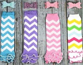 SALE!  -  Baby Girl Blue, Purple, Pink, and Multi Colored Spring First Birthday Bow & Leg Warmer Set