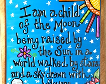 Child of the Moon 12x12 inch hand painted canvas, boho art, custom made, home sweet home