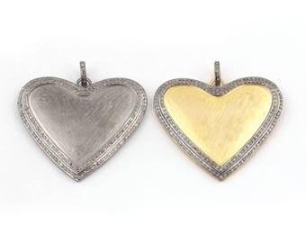 1  PC Pave Diamond Heart Matte Finish Pendant 925 Sterling Vermeil & Silver  Pendant (you-choose)40mmx45mm PD1411