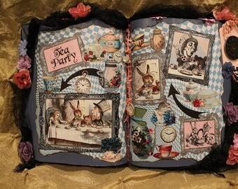 "Alice in Wonderland ""Tea Party"" Altered Art Book, Alice in Wonderland Decor, Alice in Wonderland Party, Vintage Alice in Wonderland, Unique"
