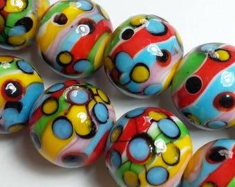 2pcs Colourful Beads - Hippie Beads - Multicoloured Beads - Lampwork Beads - Colorful Beads - Rainbow Beads - Handmade Beads 16mm - O008-03