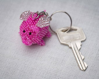 Flying Pig Keychain, Beaded