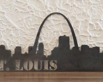 "St. Louis skyline, Handmade, steel art work, skyscrapers, modern, 11x24"", Decor"