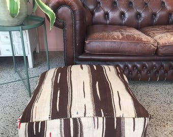 """SALE Handmade and unique kilim Moroccan pouf,poef,osmane,puff,ottoman,foot stool,floorpillow """" Comes with filling"""""""