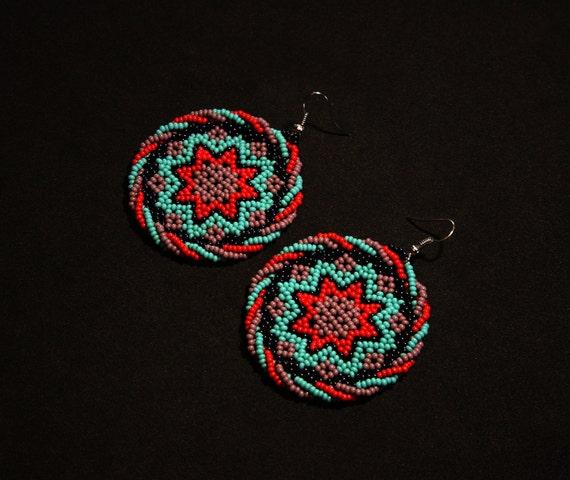 Huichol Sun Earrings, Morning Star Earrings, Small Medallion Earrings, Native American Beaded Earrings, Huichol Jewelry, Authentic Beading