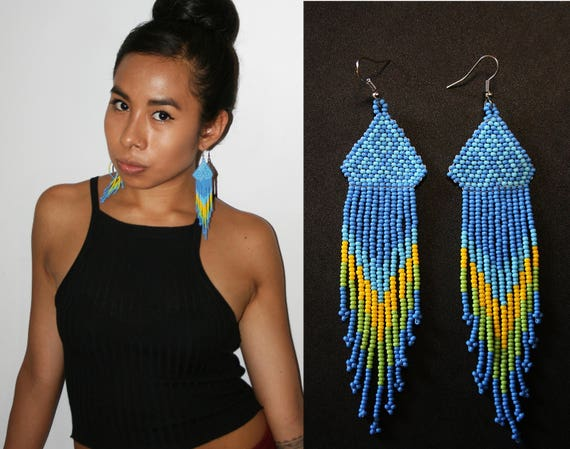 Blue Native American Earrings, Huichol Indian Earrings, Mexican Beaded Earrings, Beaded Tribal Earrings, Traditional Beadwork, Seed Beads