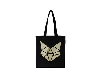 Black small tote bag for kids with gold fox illustration