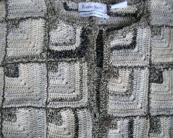 Gray Day painters pallet, intricate hand knit, Granny square, cardigan, made of linen, cotton and ramie, Versatle sizing, Med to Lg,